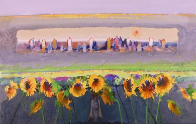"Pilgrimage with Sunflowers  28"" X 44"""