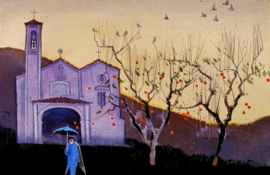 Umbrella, Persimmons & Pigeons